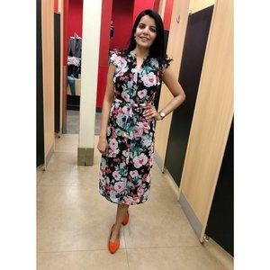 Who What Wear Button Front Floral Midi Dress